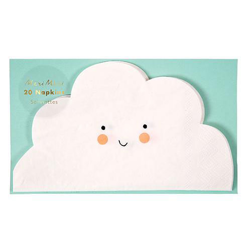 cloud party napkins with a smiley face