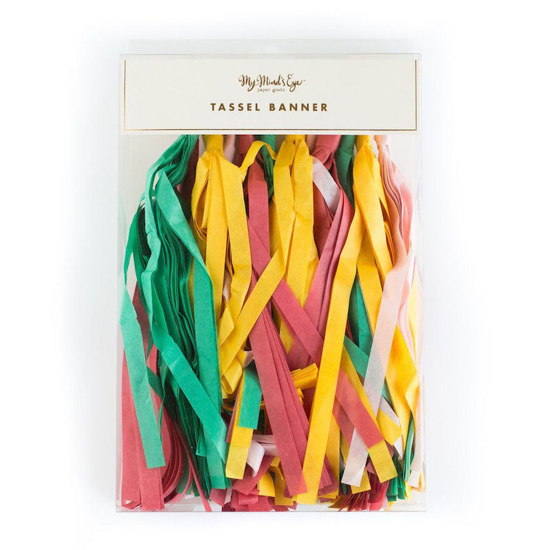 Colorful Tassel Garland in plastic packaging