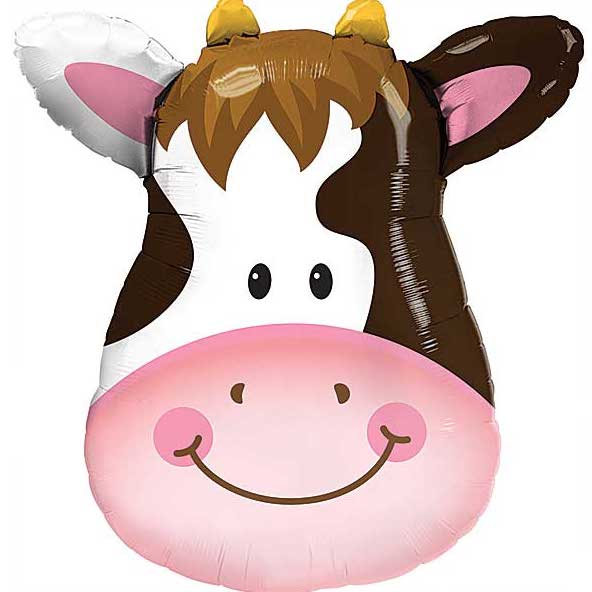 a blown up cow balloon with pink, black and white coloring