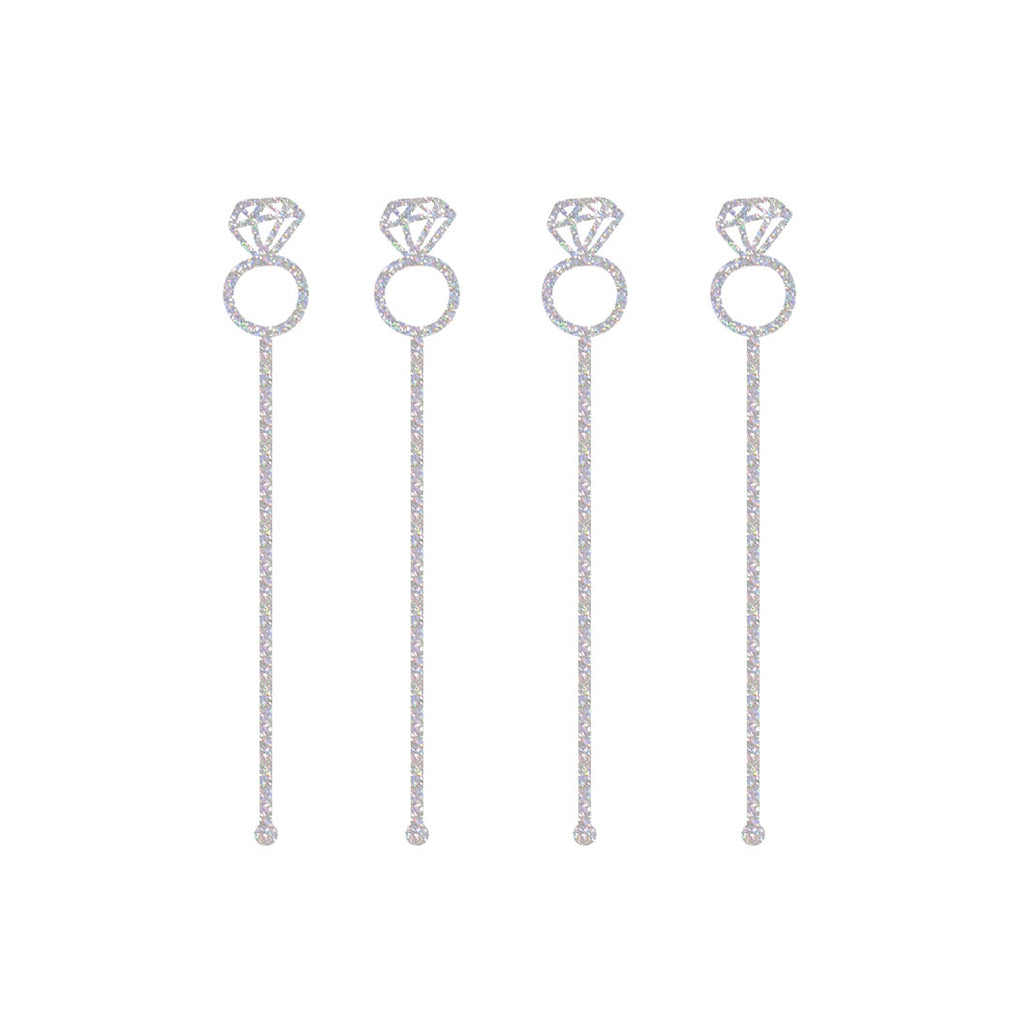 silver sparkly diamond ring drink stirrers