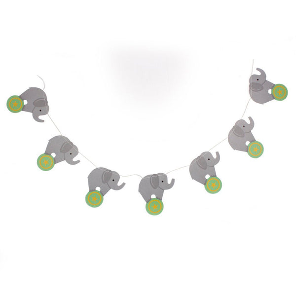 elephant party garland on string with white background