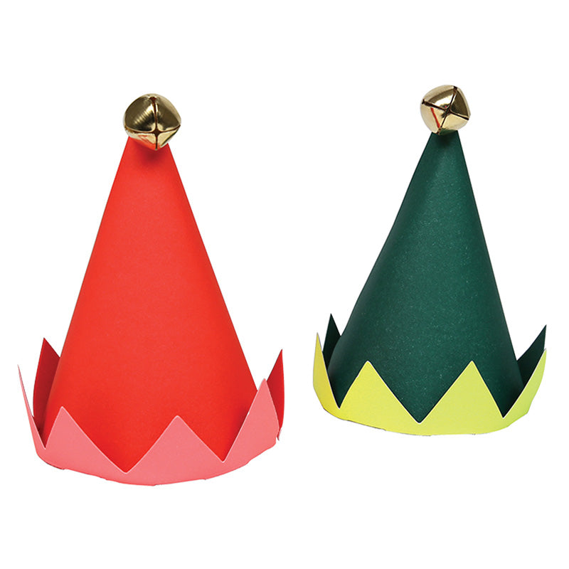 red and green mini paper elf hats topped with a little gold bell