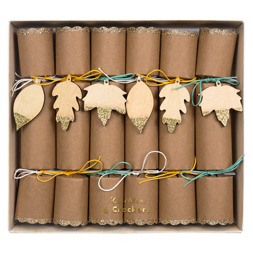 Fall Party Crackers in Craft Paper with Wooden Leaves Tied to Them