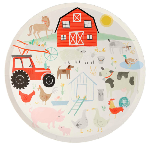 large farm party plates