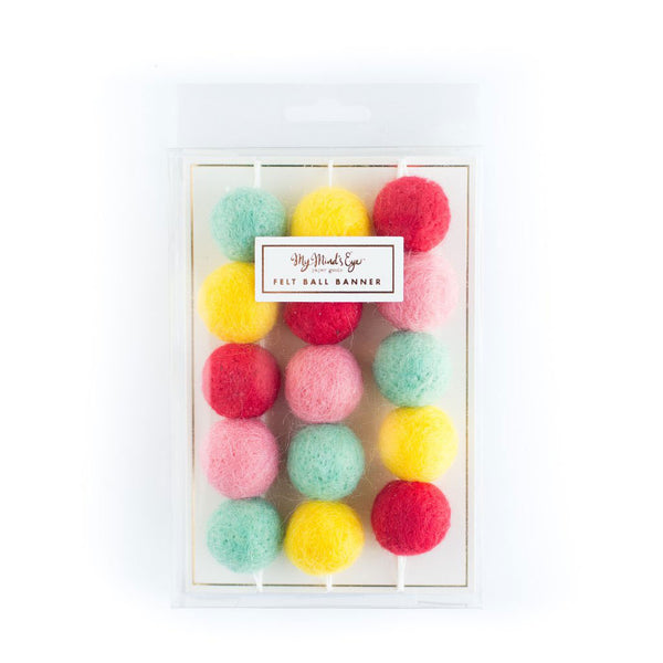 Colorful Felt Ball Garland in a Package