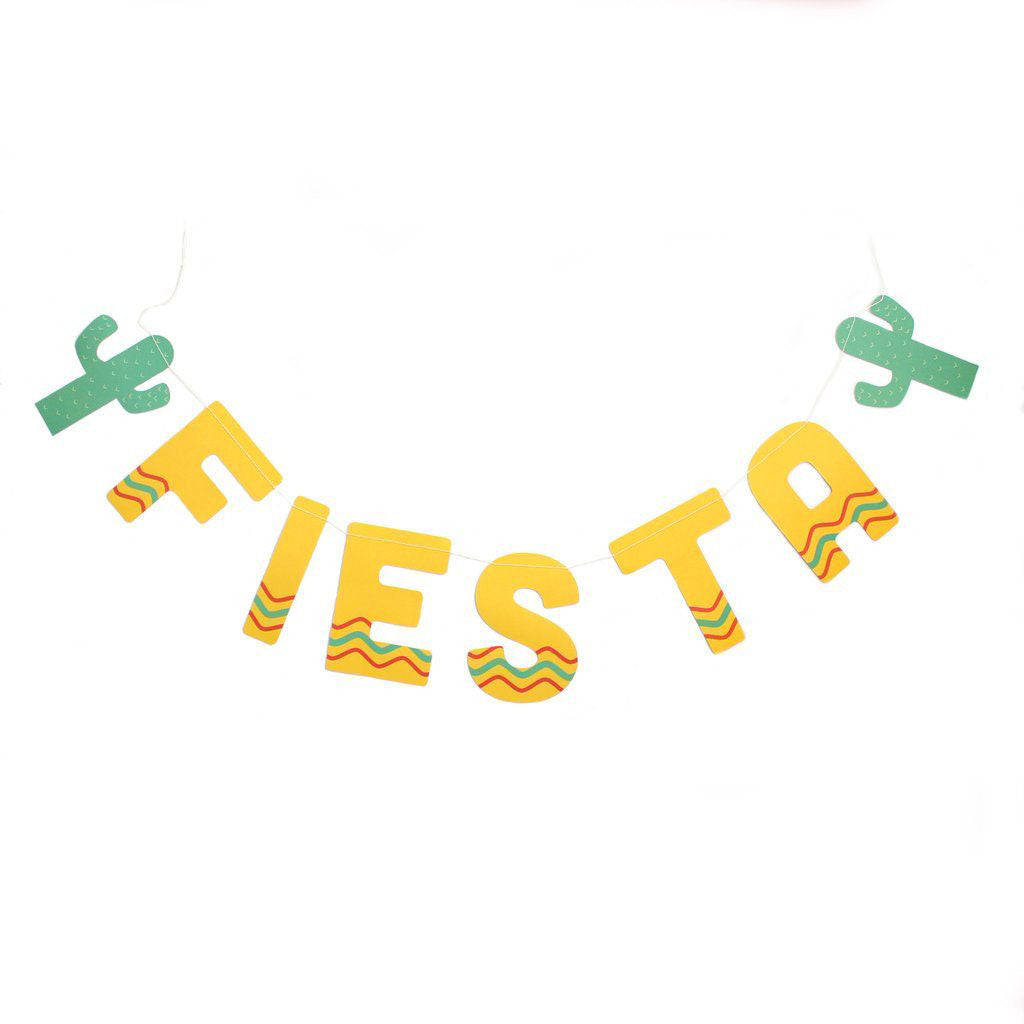 authentic yellow fiesta banner with cactus pennants