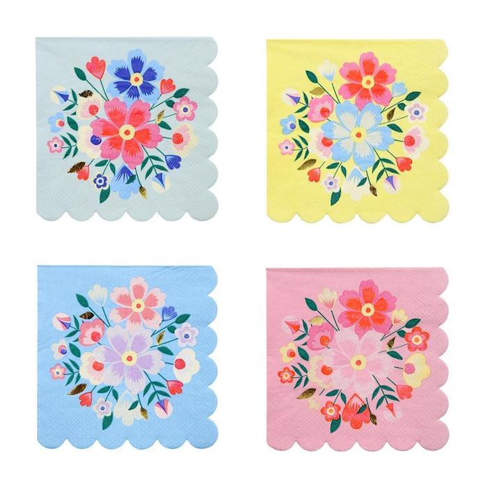 bright colorful floral napkins with scallops