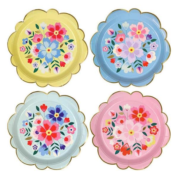 bright floral party plates
