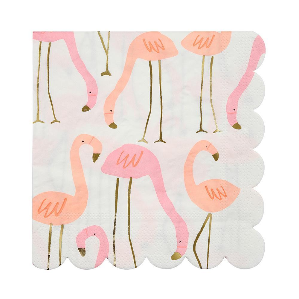 Colorful Flamingo Napkins with Scallops
