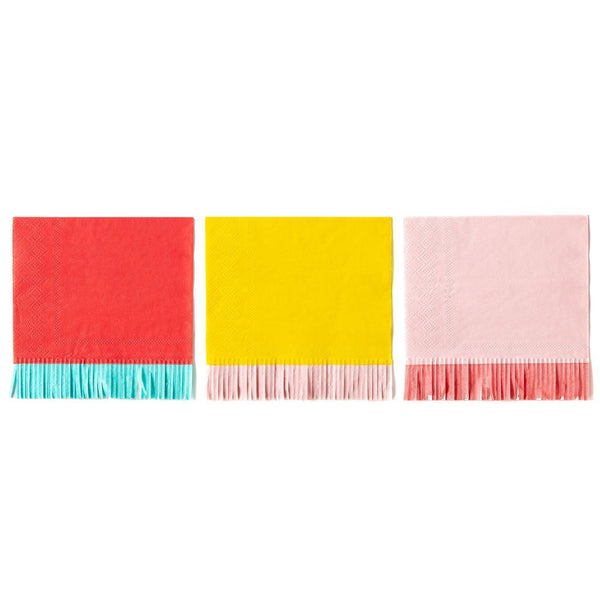 colorful fringe cocktail napkins in red, yellow and pink