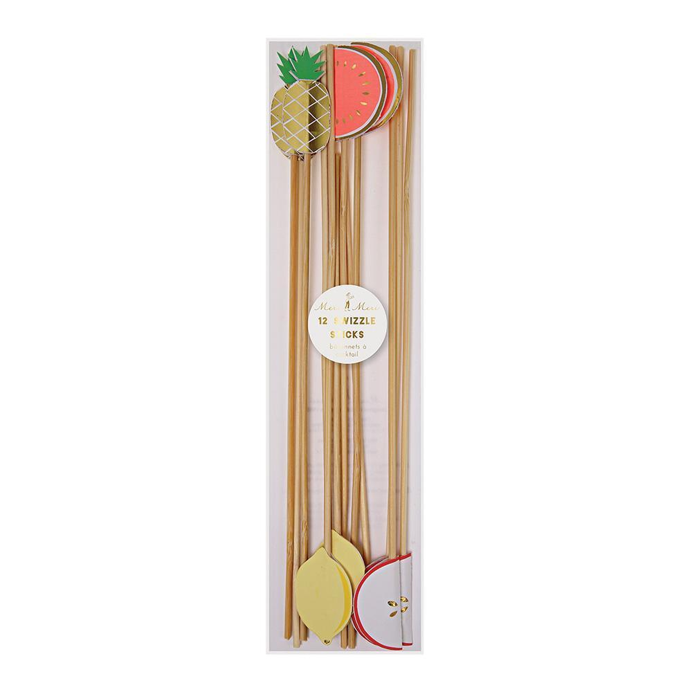 fruit drink stirrers made out of wood picks and colorful toppers