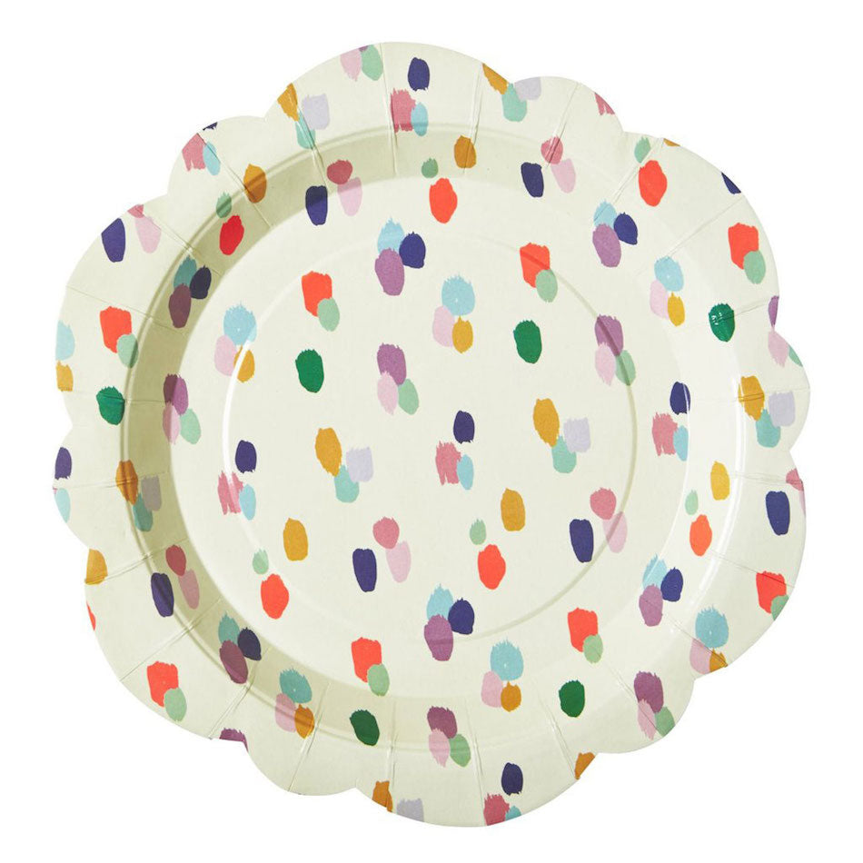 fun party plates with artistic dots