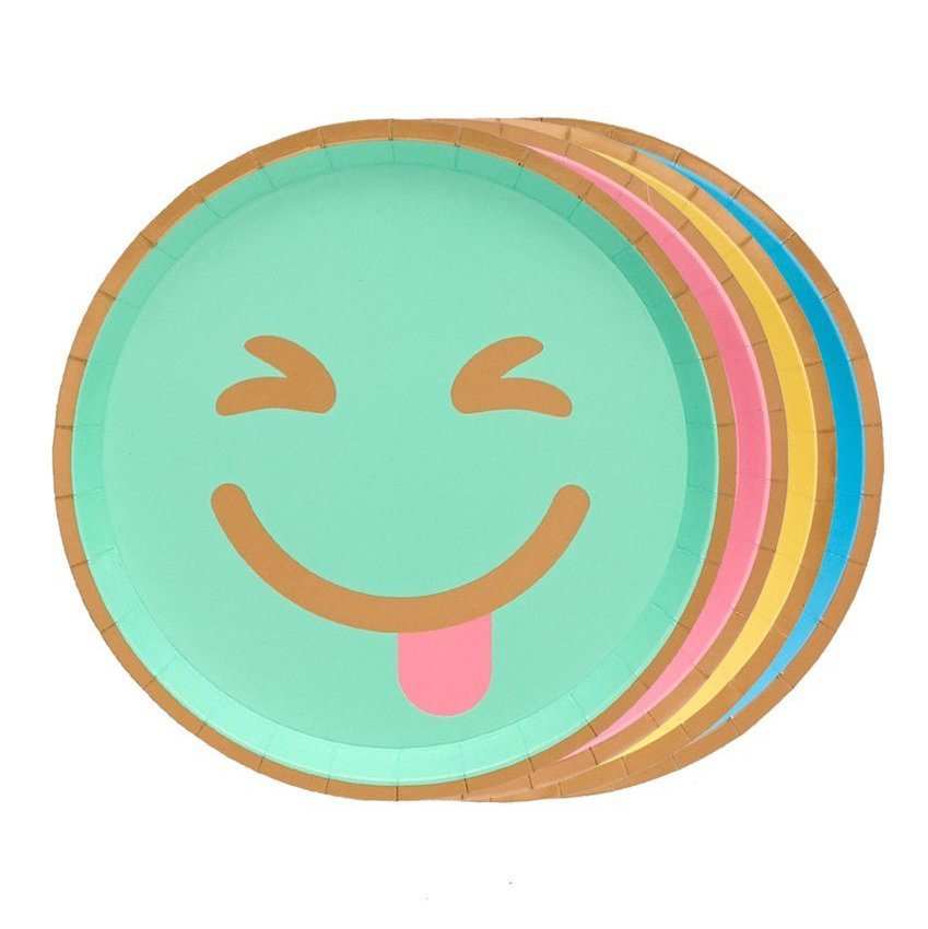 emoji plates in different colors and expressions