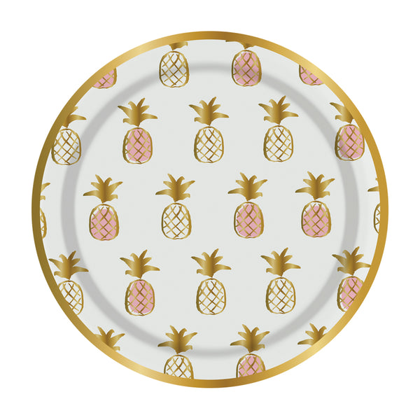 pink and gold pineapple party plates