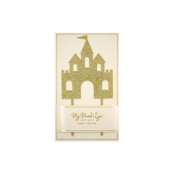 Sparkling gold castle cake topper