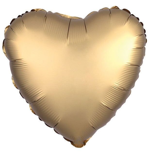 gold satin heart balloon filled with helium