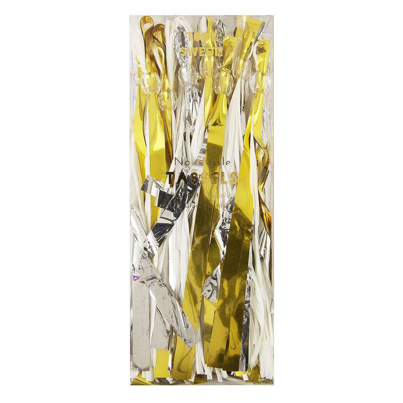 shiny gold and silver tassel garland in a clear box