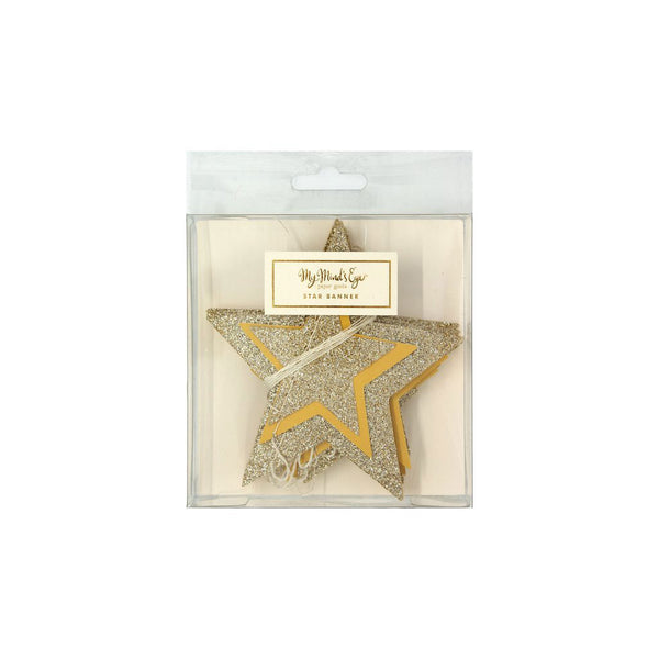 gold star garland in plastic packaging