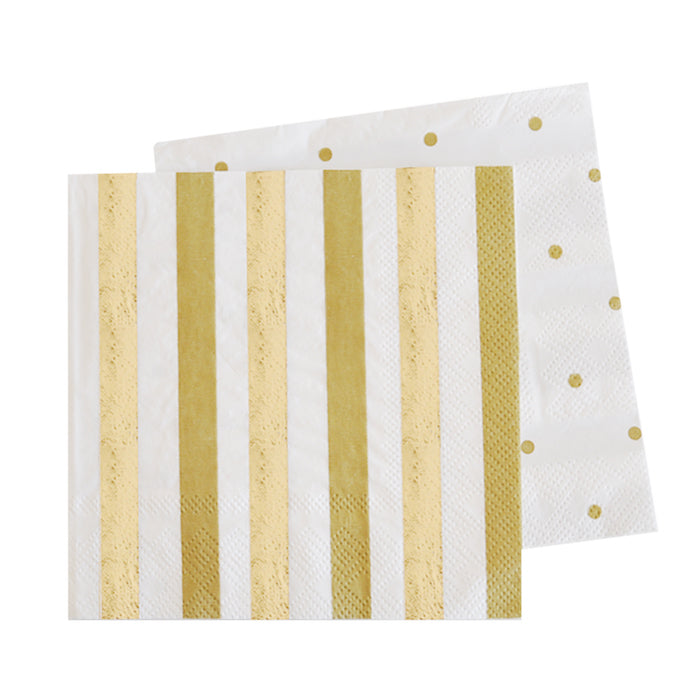 gold and white striped and polka dotted party napkins