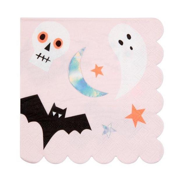 pink and silver halloween napkins