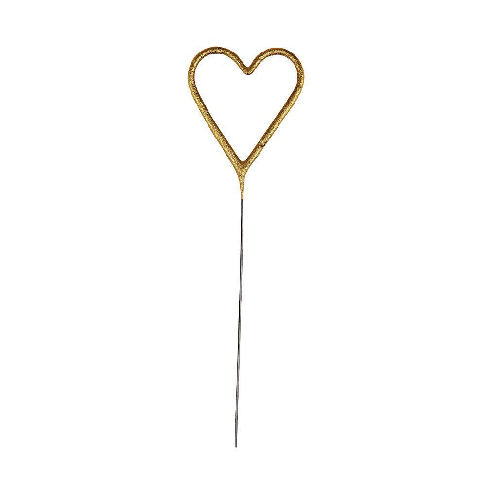 Gold Heart Sparkler Candle