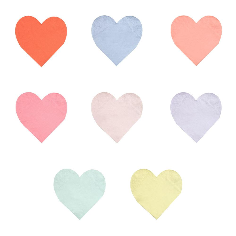 pastel heart napkins in an assortment of different colors