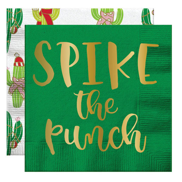 green and gold Christmas cocktail napkins with cactus icons