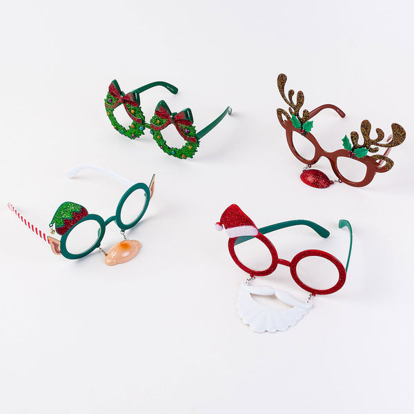 a set of Holiday Specs including Santa, a reindeer and elf