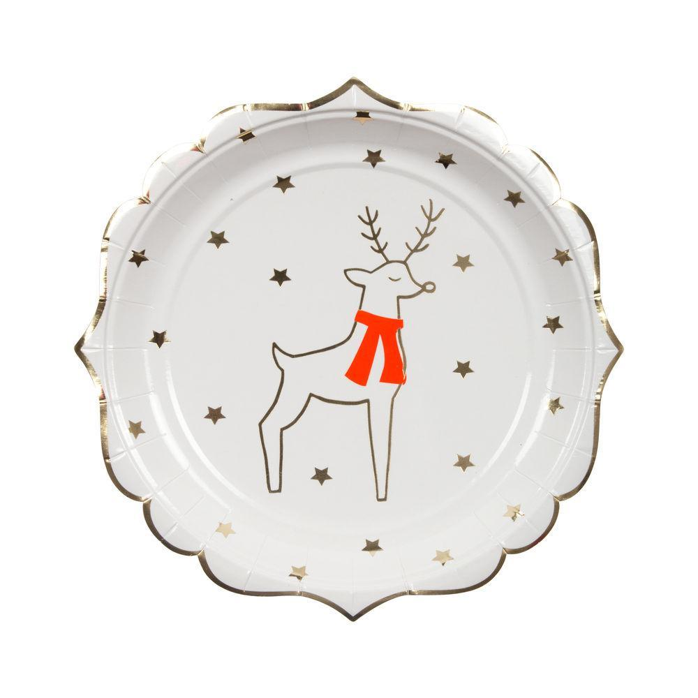 Holiday Plates with Silver Snowflakes and Reindeer