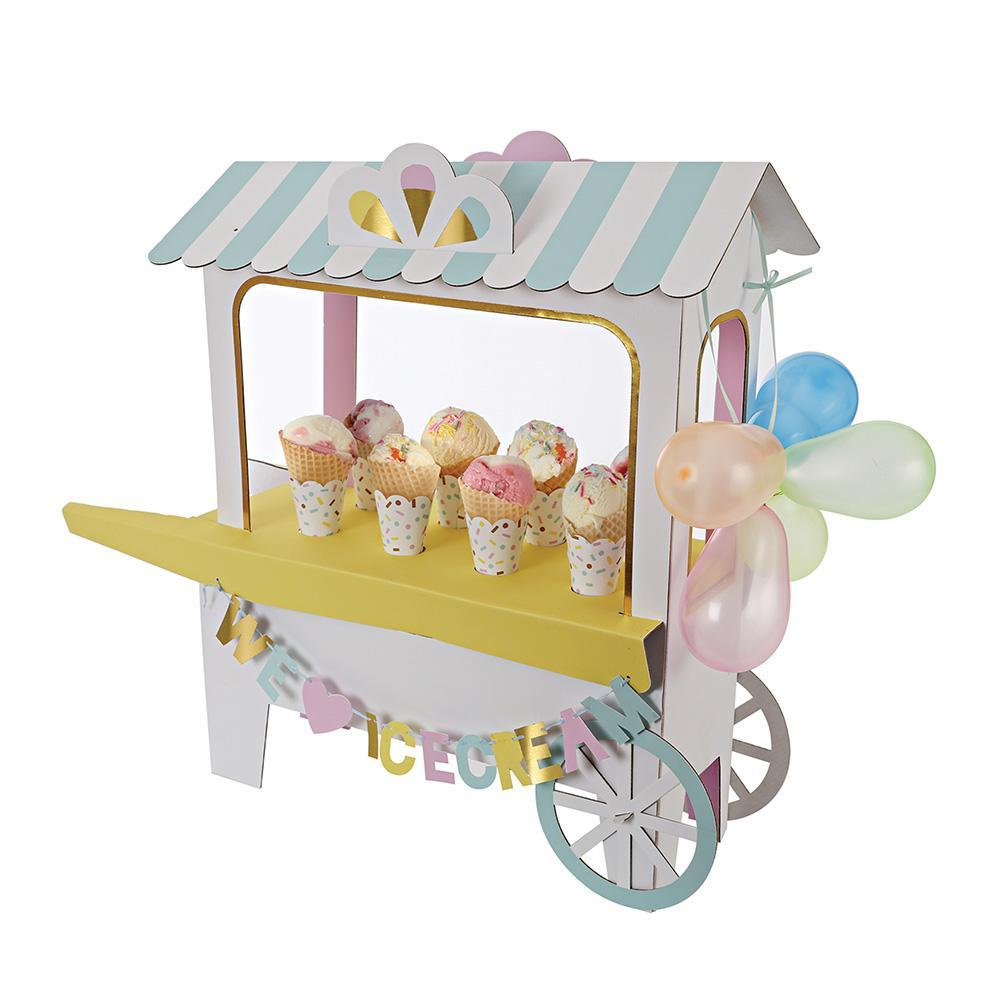 ice cream cart assembled with ice cream cones