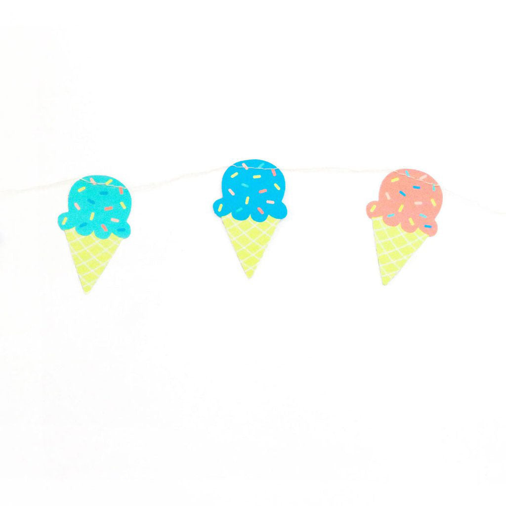 colorful ice cream decor banner with ice cream cones