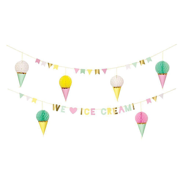 colorful ice cream garland with ice Cream cones