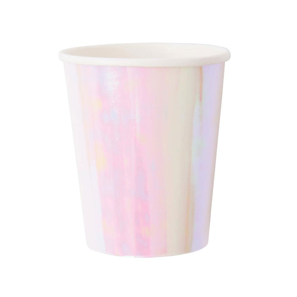 iridescent paper cup against white background