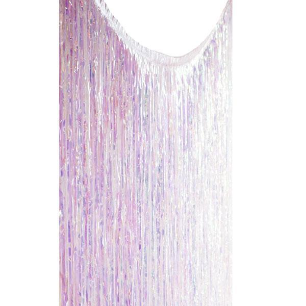 Iridescent Fringe Backdrop Hanging against white background