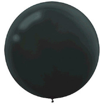 black jumbo latex balloon against white background