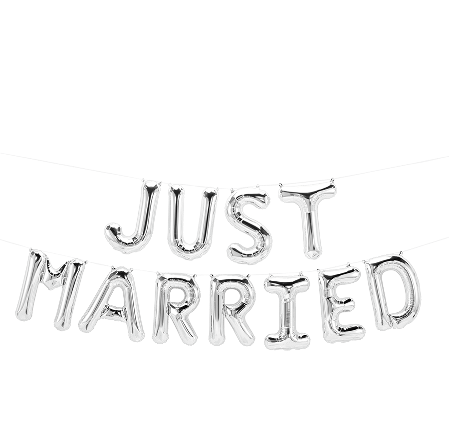 Silver Just Married Balloon Banner