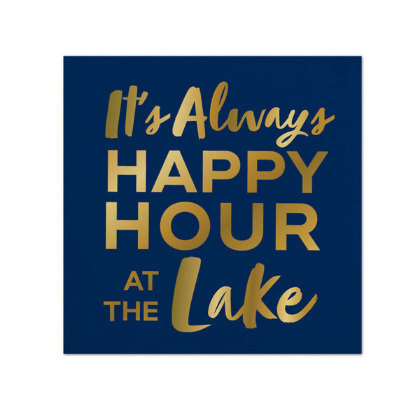 Blue and Gold Lake Happy Hour Napkins