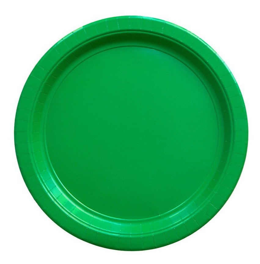 large solid green paper party plates