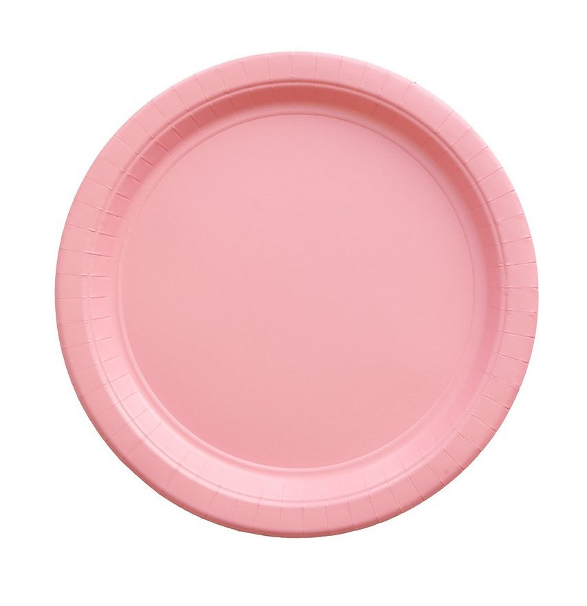 Light Pink Party Plates Against a White Background