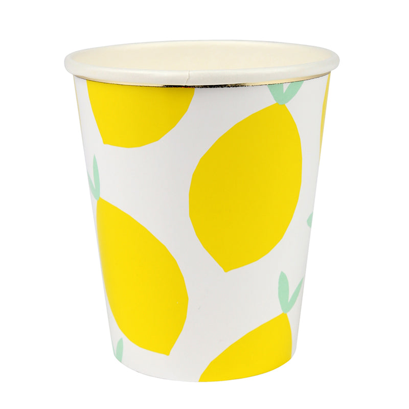 white and yellow lemon cups