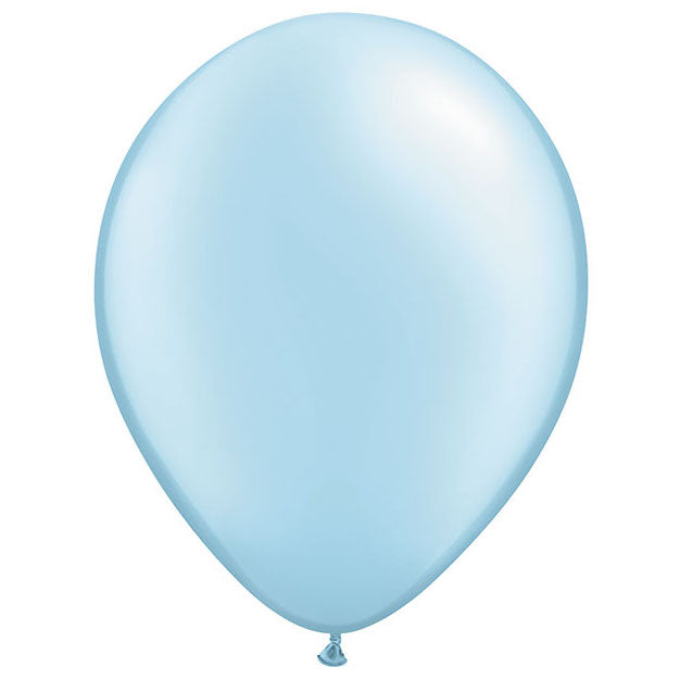 Pearl light blue latex balloons inflated