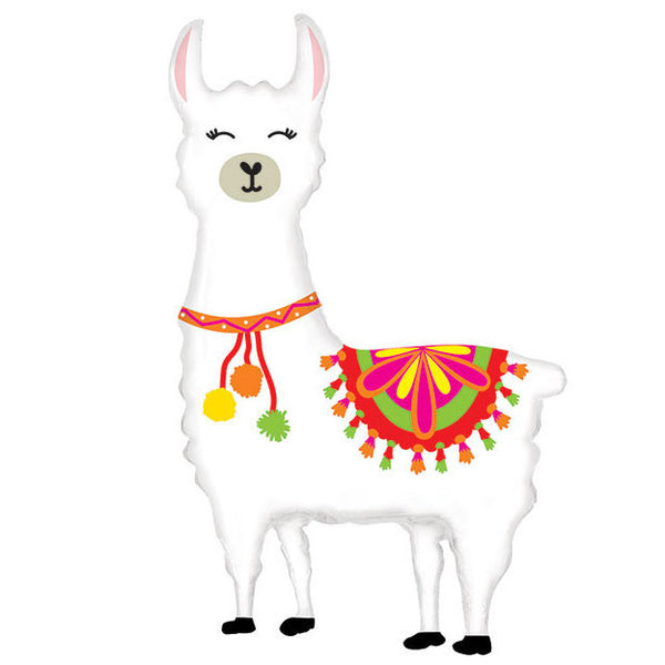 white llama balloon filled with helium