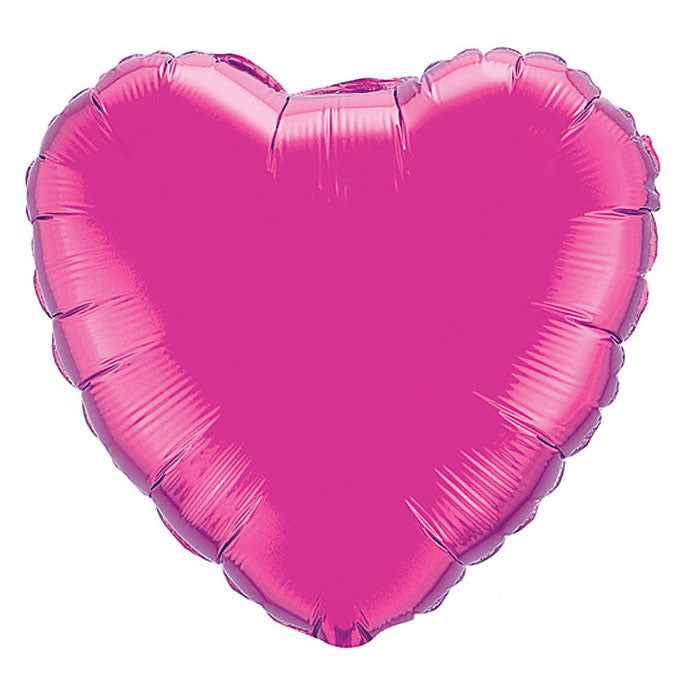 Magenta Heart Balloon blown up with helium