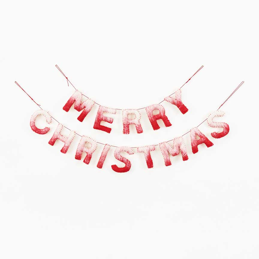 merry christmas banner made out of wool and cotton