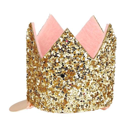 pink and sparkly mini gold crown