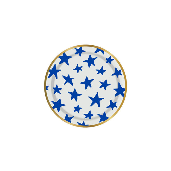 white and blue star plates with a gold foil rim