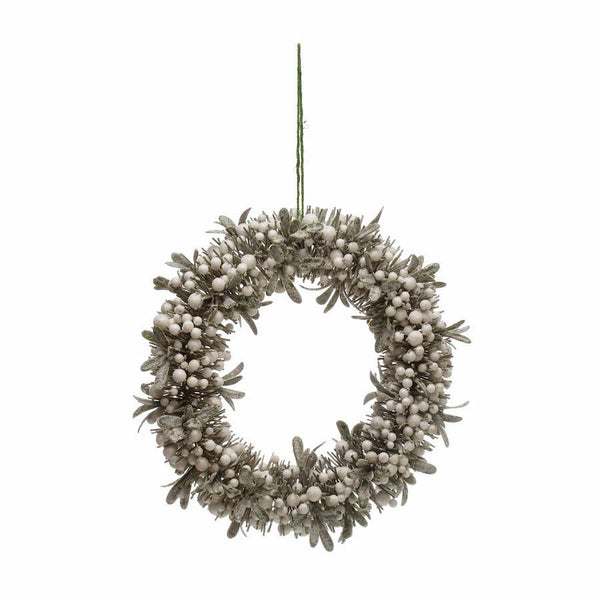 mistletoe wreath with white berries