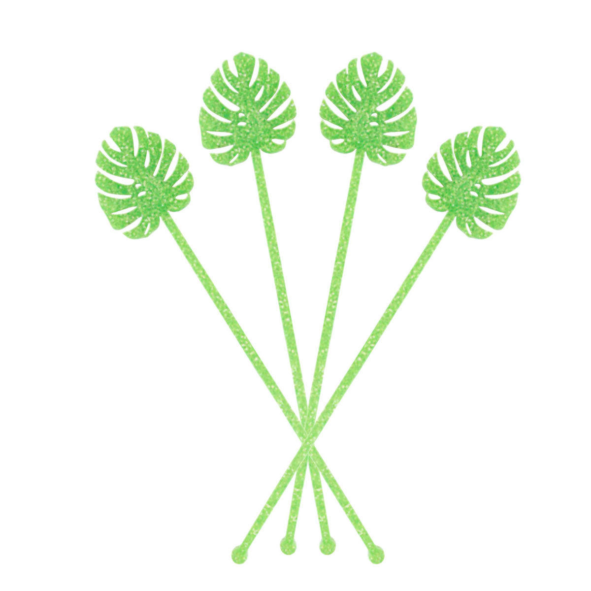 green monstera drink stirrers