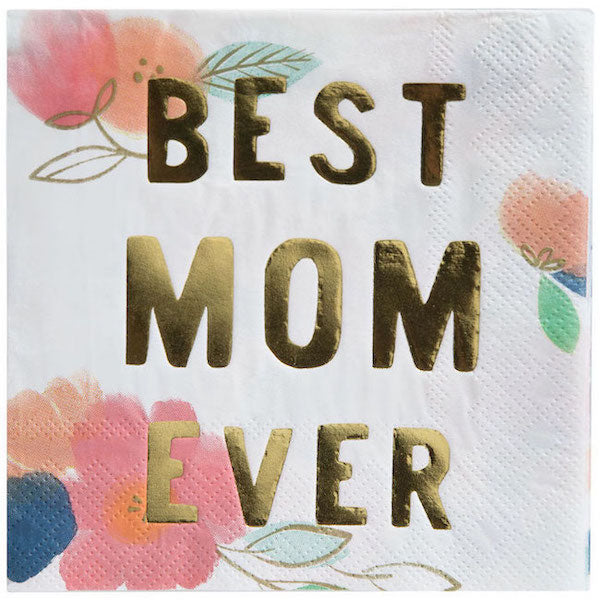 White and Gold Best Mom Ever Napkins Designed with Flowers