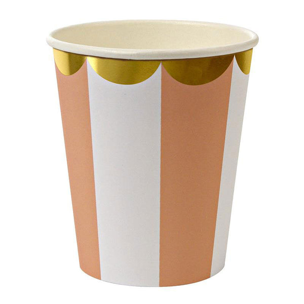 Orange cups designed with white stripes and gold scallops